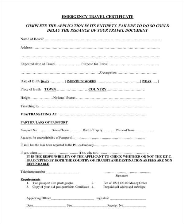certificate of travel application form