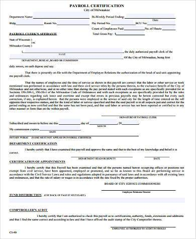 certified payroll affidavit form