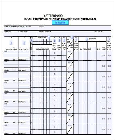 Certified Payroll Form In Excel Format  Payroll Forms Free
