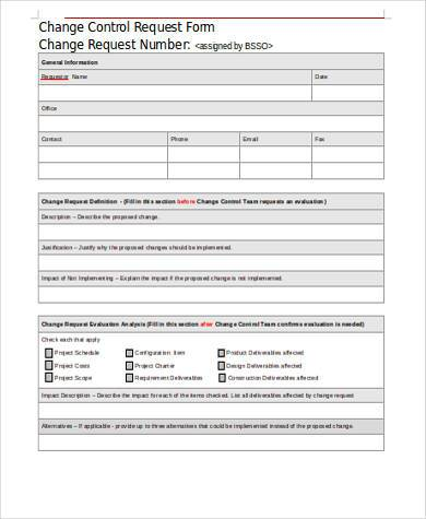 change control request form