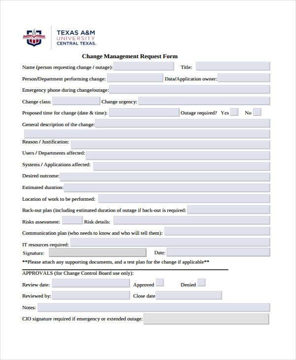 change management risk assessment form