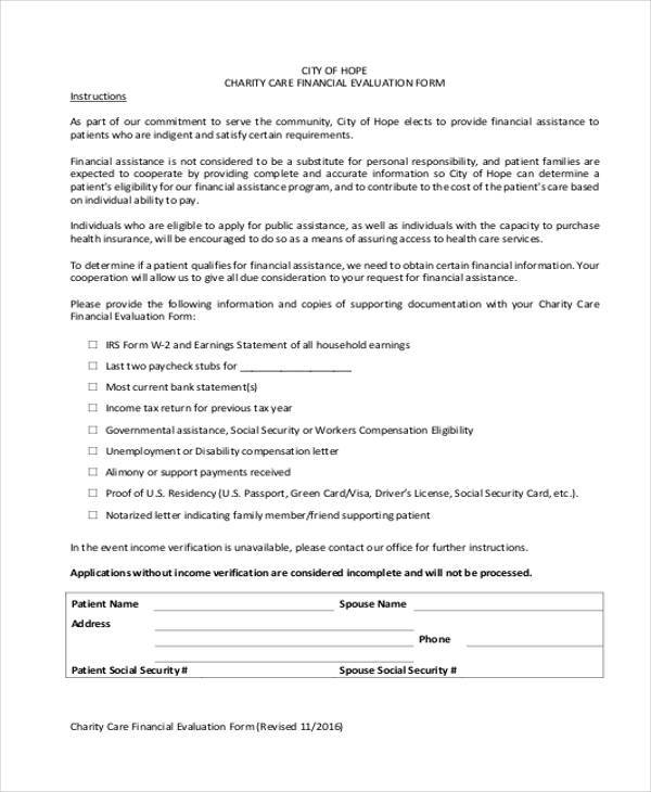 Charity Care Financial Evaluation Form