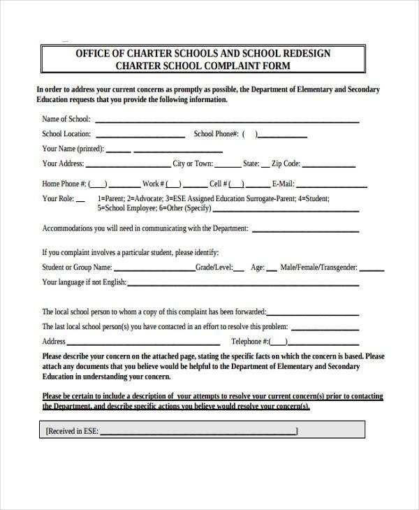 charter school complaint form