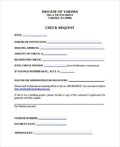check request form sample