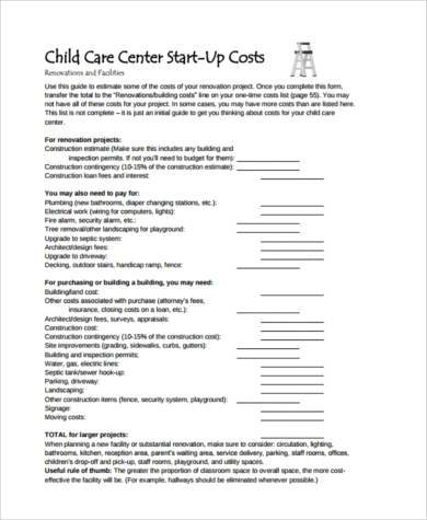 Sample Child Care Budget Forms   Free Documents In Word Pdf