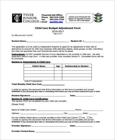 child care budget increase form