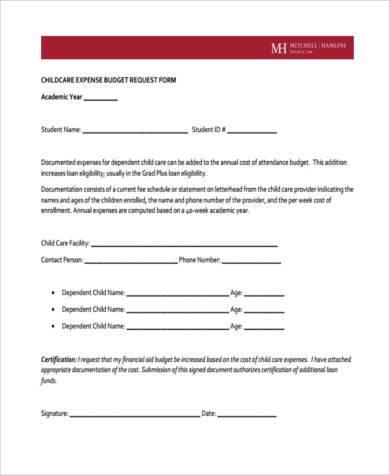child care expense budget request form