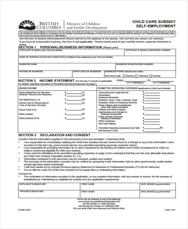 child care self employment form