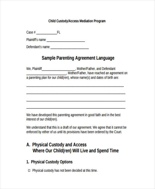 8 Custody Agreement Form Samples Free Sample Example Format Download