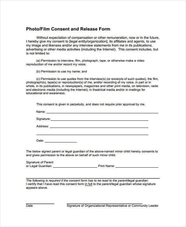 child film release form sample