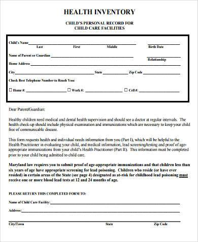 child health inventory form