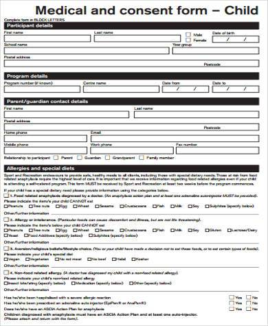 child medical consent form sample