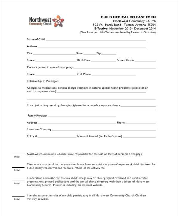 Medical Release Form For Minor. Child Travel Consent Form