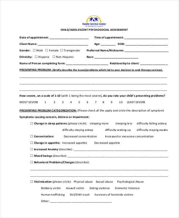 Psychosocial Essment Template | Sample Free Assessment Forms 33 Free Documents In Word Dpf