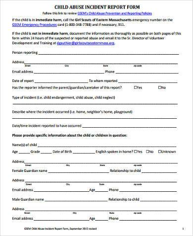 child safety report form