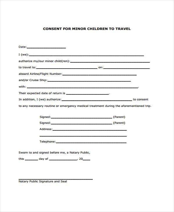 7 travel consent form samples free sample example for Free child travel consent form template