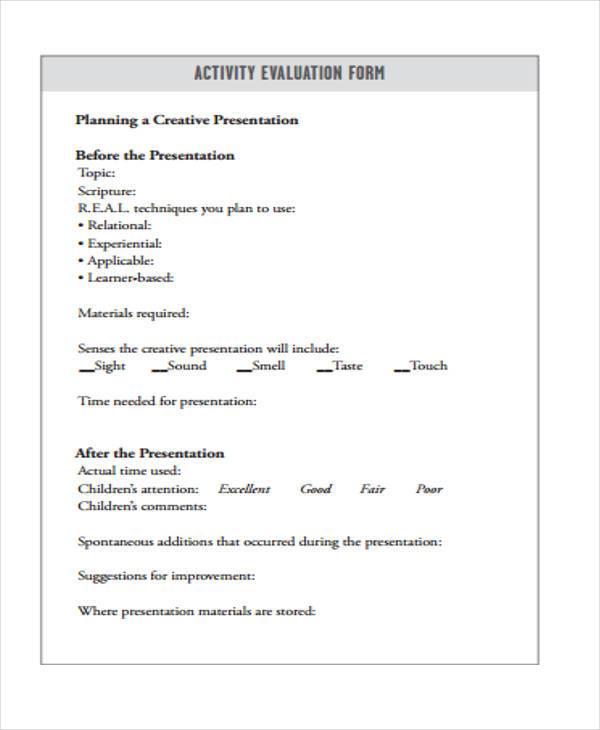 childrens activity evaluation form