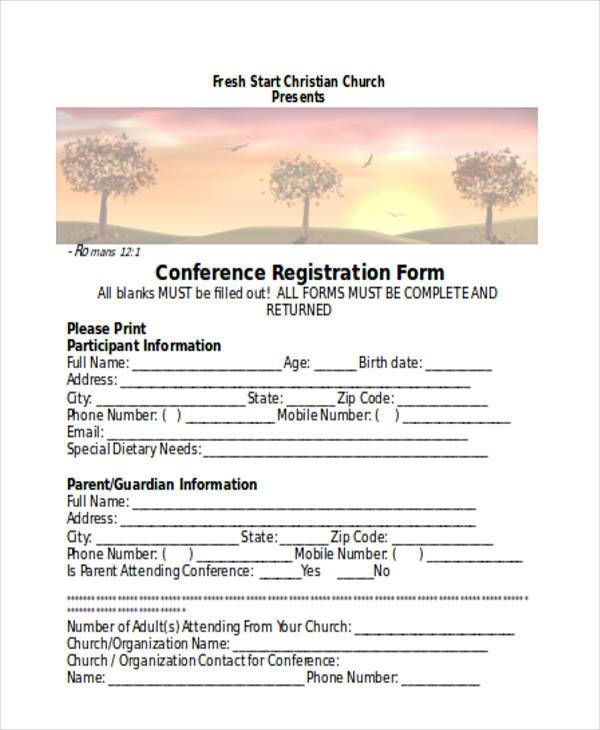 church conference registration form3
