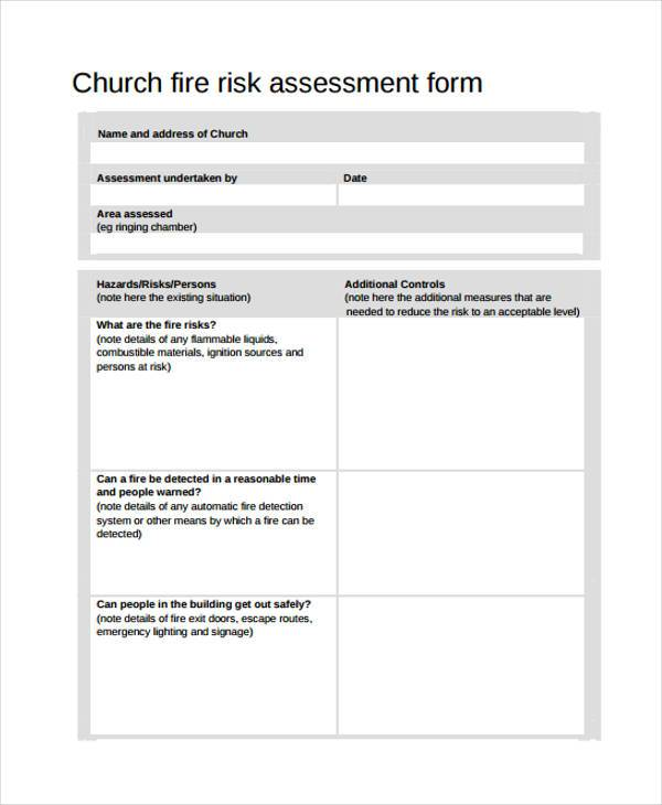 church fire risk assessment form