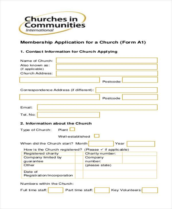 Churches Church Leadership: Sample Leadership Application Forms