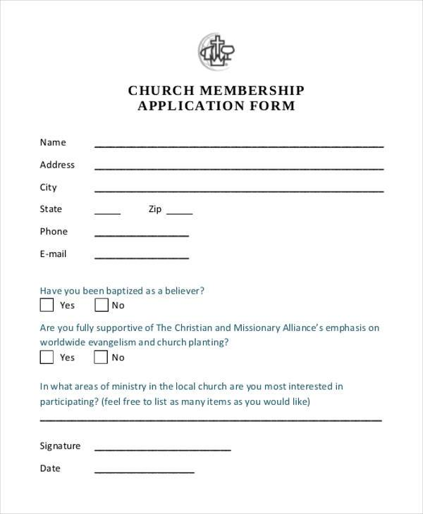 Church Membership Application Form  Membership Forms Templates
