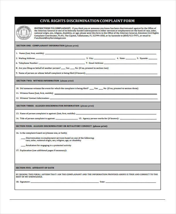 Discrimination Complaint Form Samples  Free Sample Example