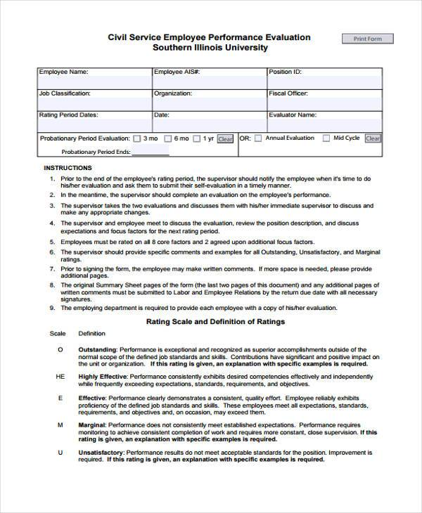 Civil Service Employee Performance Evaluation Form