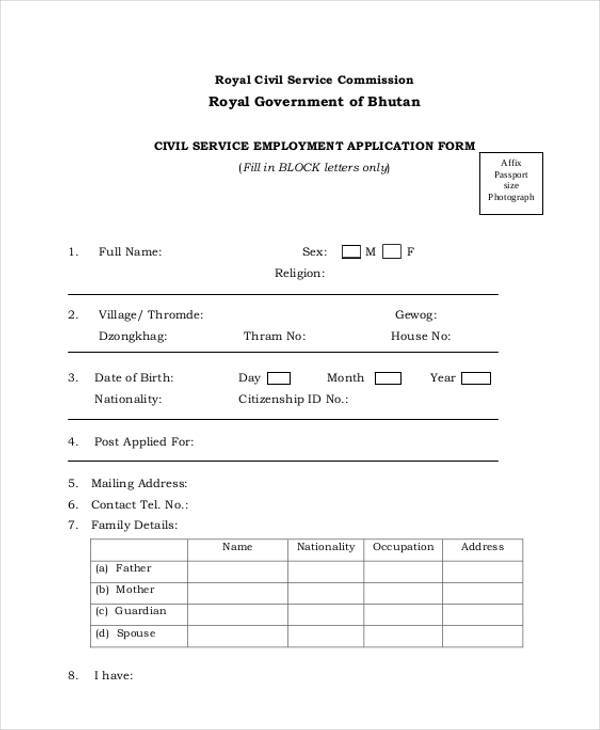 civil service employment application form
