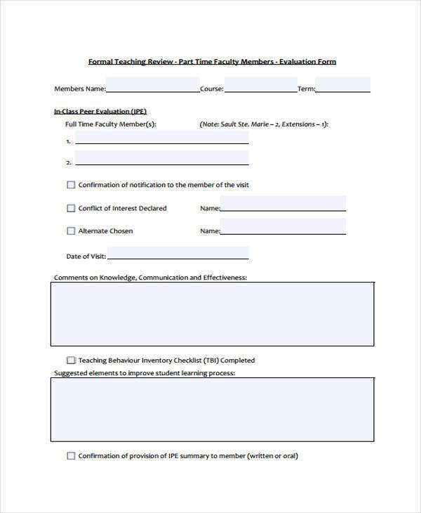 7 Class Evaluation Form Samples Free Sample Example Format – Sample Course Evaluation Form