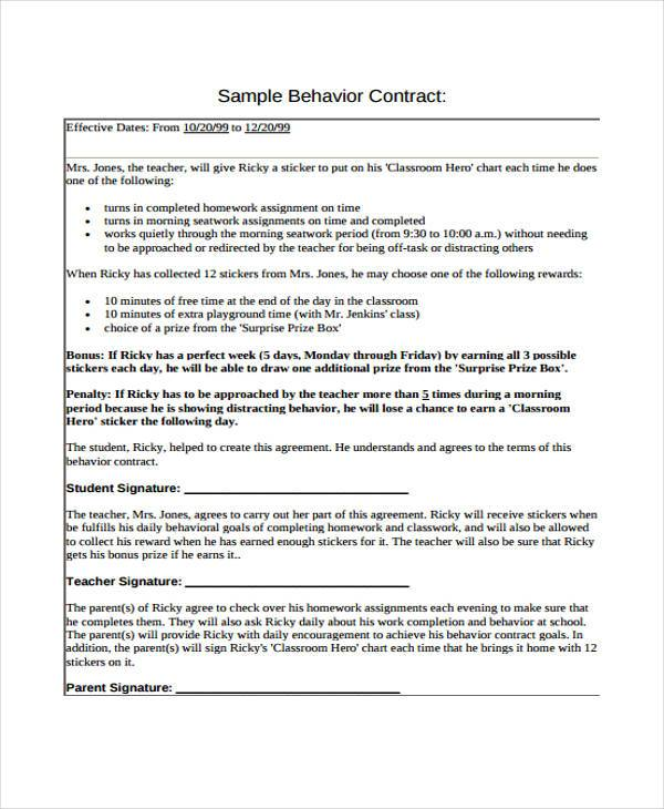 Sample Behavior Contract Forms 7 Free Documents in Word PDF – Student Agreement Contract