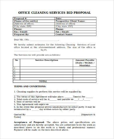 cleaning bid proposal form1