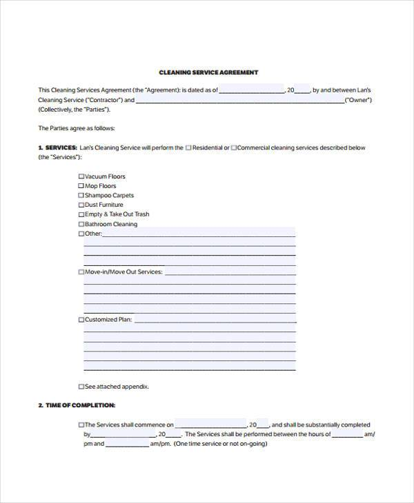 Sample Cleaning Contract Forms   Free Documents In Word Pdf