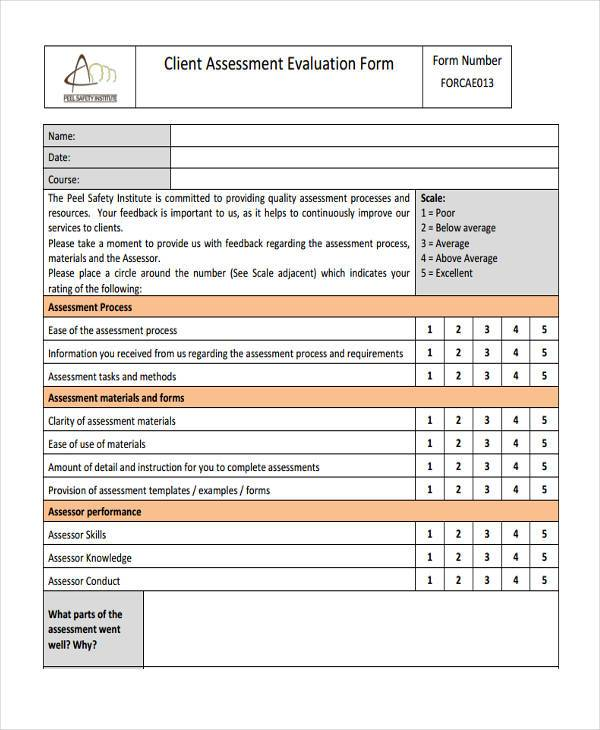 client assessment evaluation form