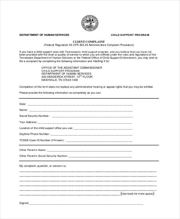 client complaint information form sample