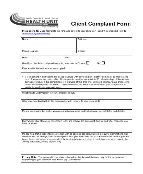 client complaint information form in pdf