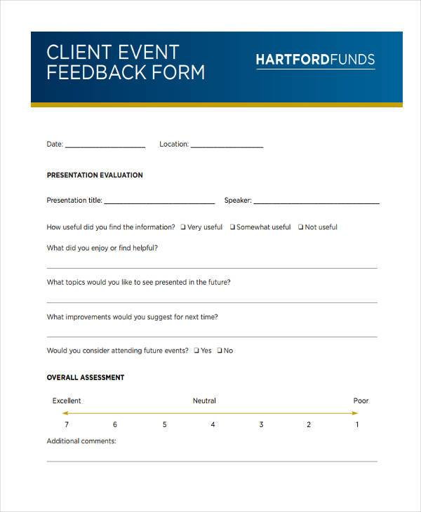 client event feedback form