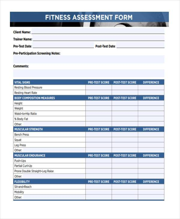 client fitness assessment form example