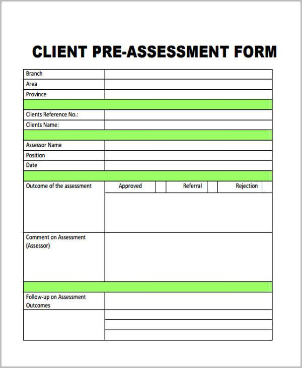 client marketing assessment form