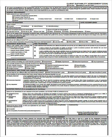 client suitability assessment form