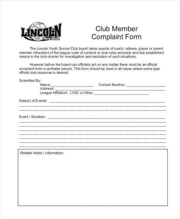 club member complaint form