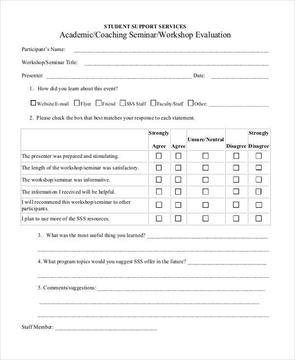Evaluation Form Templates – Workshop Evaluation Forms Sample
