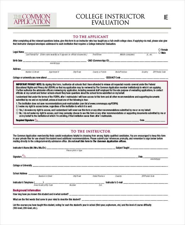 college instructor evaluation form