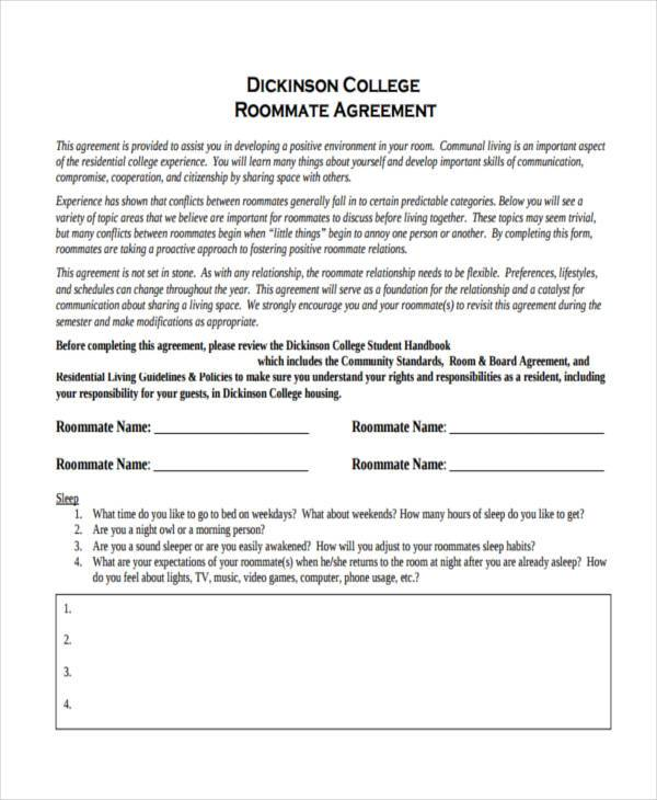 roommate agreement sample