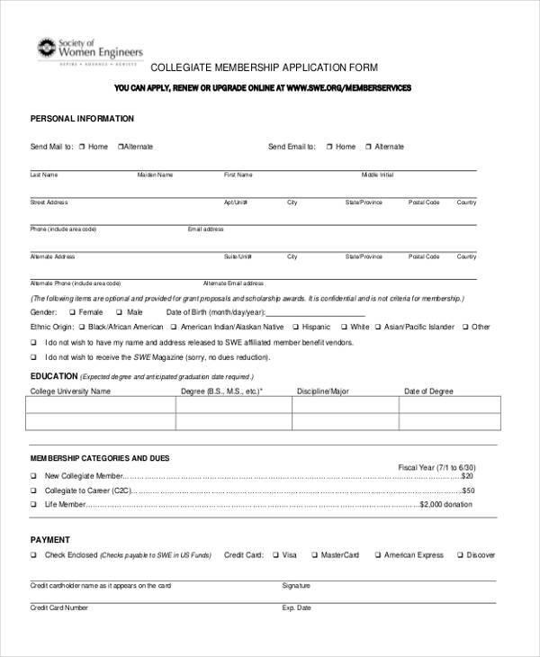 collegiate membership application form