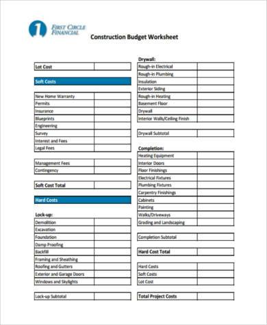 commercial construction budget form