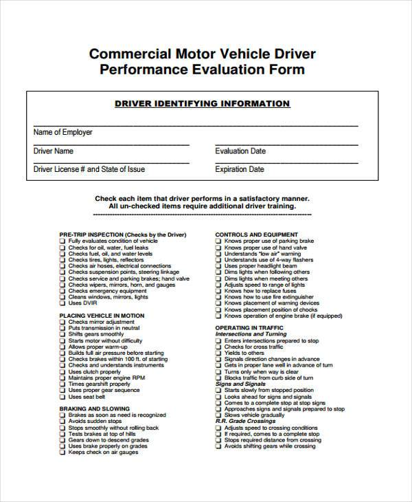 7+ Driver Evaluation Form Samples - Free Sample, Example