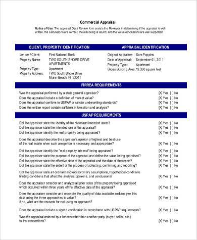 commercial real estate appraisal form