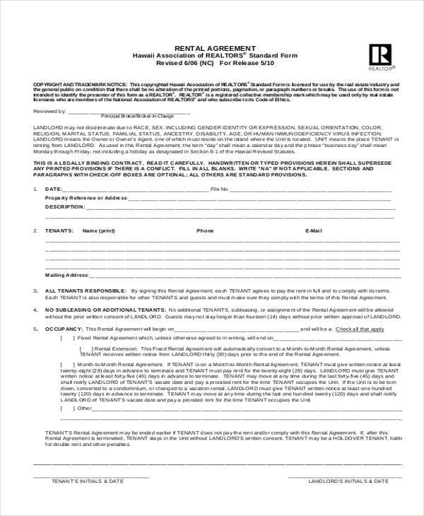 commercial rental agreement form example