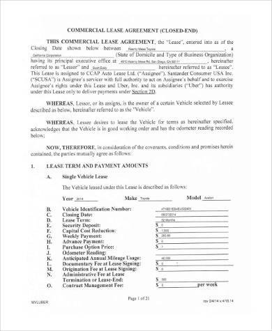 Vehicle Lease Agreement Samples   Free Documents In Pdf