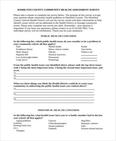 Sample Community Assessment Forms   Free Documents In Word Pdf